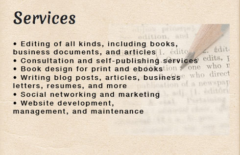 Services from Lillie Ammann: Editing books, consultation, self-publishing, book design, writing, web site development, web maintenance