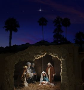 Christmas Nativity with Mary, Joseph, the Three Wise Men and baby Jesus