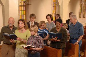 Church congregation singing hymns in church