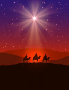 Christian Christmas background with shining star on night sky and three wise men, illustration.