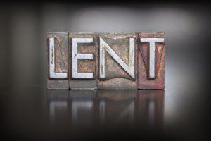The word LENT written in vintage lead letterpress type