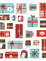 advent calendar.Collection of vector colorful Christmas present boxes. Holiday seamless pattern. calendar advent